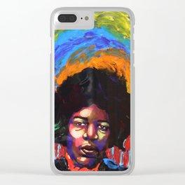 Jimi Hendrix Portrait Clear iPhone Case