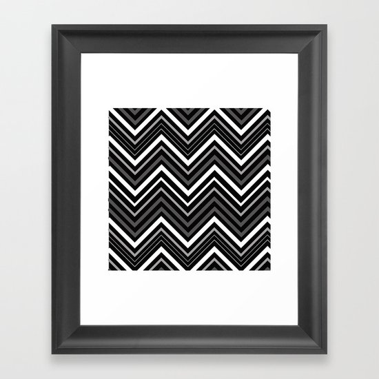 Black and white Chevron Framed Art Print
