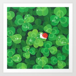 Happy lucky snail Art Print