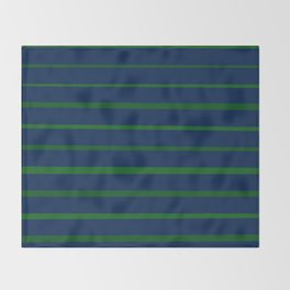Slate Blue and Emerald Green Stripes Throw Blanket