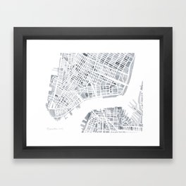 Map Manhattan Gray NYC Framed Art Print