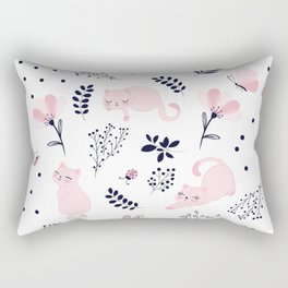 Cute pink cats vector illustration pattern Rectangular Pillow