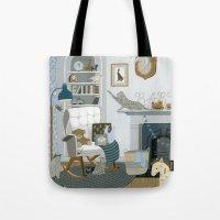 nursery Tote Bags featuring Baby Animal Nursery by Yuliya