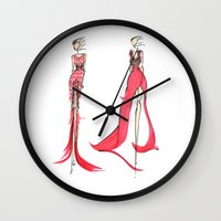 fashion illustration Wall Clocks featuring Fashion Illustration by Anukriti Goswami