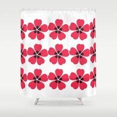 Japanese Sakura Floral Pattern - White Shower Curtain