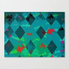 Argyle Frenzy in Larimar Canvas Print