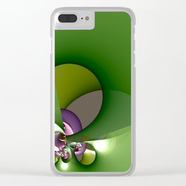 Abstract geometric round shapes on green Clear iPhone Case