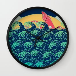 Squid on the waves Wall Clock