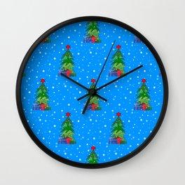Whimsical Christmas Tree Pattern Wall Clock