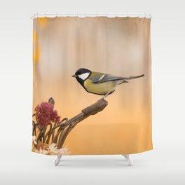 Songbird (Great Tit) on Autumn Day #decor #society6 #buyart Shower Curtain
