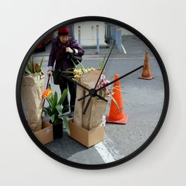 Caution - Orchid Crossing Wall Clock