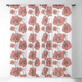 Watercolour Poppies Sheer Curtain