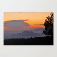 Mountains. Sunset from the forest. Canvas Print