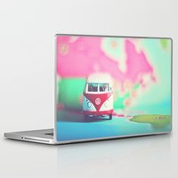 vw bus Laptop & iPad Skins featuring Red & White VW Bus by Anna Dykema Photography