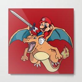 Mario Attack (parody) Metal Print