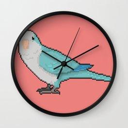 Pixel / 8-bit Parrot: Blue Quaker Parrot Wall Clock