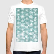 Holiday Teal and Flurries Mens Fitted Tee White MEDIUM