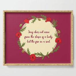 Poppy wreath with a quote Serving Tray