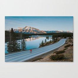 Two Jack Lake during sunrise Canvas Print