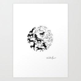 Yin Yang Horses Art Print