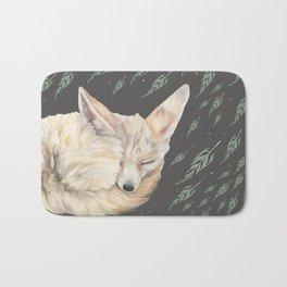 Fennec Fox Feather Dreams in Green & Grey Bath Mat