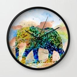 Design 37 Mosaic Elephant Wall Clock