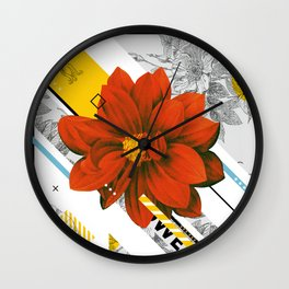 red flower collage Wall Clock