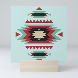 Southwest Red Aqua Geometric Tribal Indian Pattern Mini Art Print