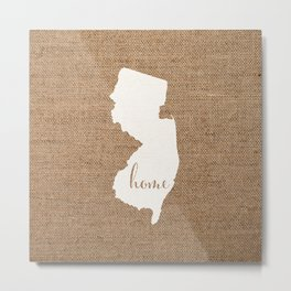New Jersey is Home - White on Burlap Metal Print