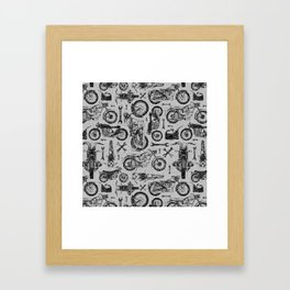 Vintage Motorcycle Pattern Framed Art Print