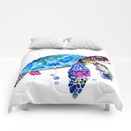 Sea Turtle, Blue Purple Turtle illustration, Sea Turtle design Comforters