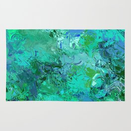 Blue Green Fractured Paint Swirls Rug