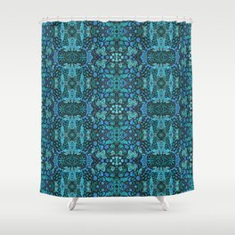 Indian Summer, Bohemian Ethnic Pattern, Blue Turquoise Shower Curtain
