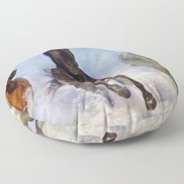 Woodstock, Connecticut - The Wild of the Winter Horses, A Portrait Floor Pillow