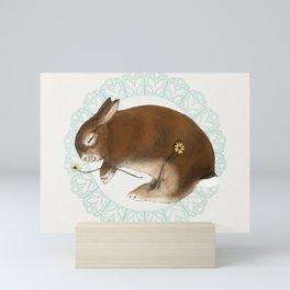Sleeping Bunny in Baby Blue Lace Wreath Mini Art Print