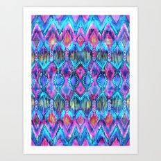 Ikat #32 Aqua Art Print