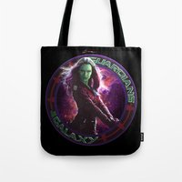 thanos Tote Bags featuring Gamora - Guardians Of The Galaxy by Leamartes