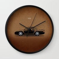 porsche Wall Clocks featuring Porsche 959 by Mark Rogan