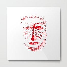 Warrior mask red white Metal Print