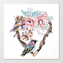Watercolor heart with flowers and bird. Hand painting. Canvas Print