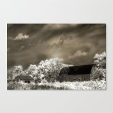 Surreal Infrared Sepia Barn Landscape Canvas Print