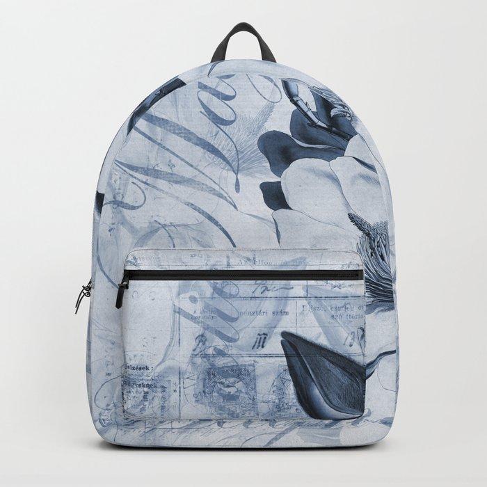 Blue Magnolia vintage flower illustration Backpack