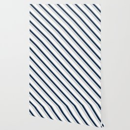 Diagonal Stripes in Navy and Gray on White Wallpaper