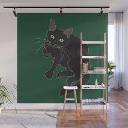 Black Cat Illustrated Print Emerald Green Wall Mural