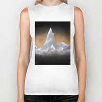 snowboarding Biker Tanks featuring Snowy Mountains by Bruce Stanfield
