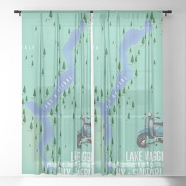 Lake Maggiore map Sheer Curtain