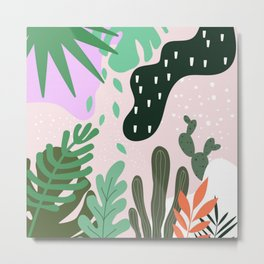 ABSTRACT PASTEL TROPICAL JUNGLE CACTUS PATTERN Metal Print