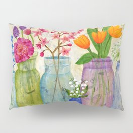 Springs Flowers in Old Jars Pillow Sham