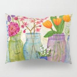 Springs Flowers in Old Jars Pillow Sham