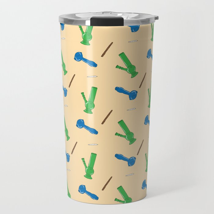 Bongs, Blunts, Joints Pattern Travel Mug